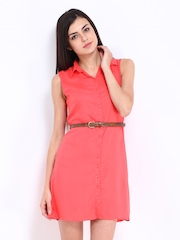DressBerry Coral Pink Shirt Dress