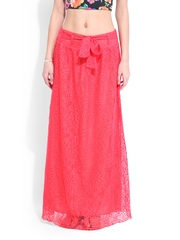 DressBerry Coral Pink Lace Maxi Skirt