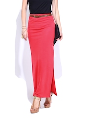 DressBerry Coral Red Maxi Skirt