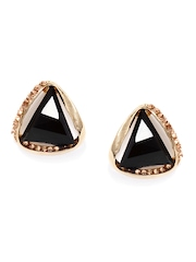 DressBerry Gold Toned & Black Stud Earrings