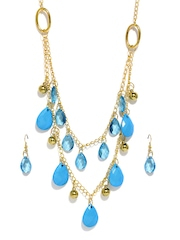 DressBerry Gold Toned & Blue Jewellery Set
