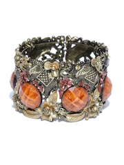 DressBerry Gold-Toned & Orange Cuff Bracelet