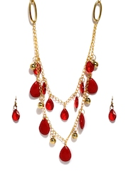 DressBerry Gold Toned & Red Jewellery Set
