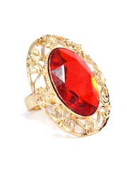 DressBerry Gold Toned & Red Ring