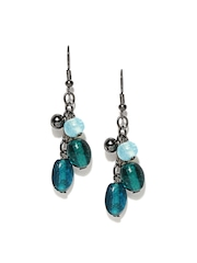 DressBerry Gunmetal Toned & Blue Drop Earrings
