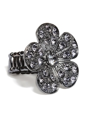 DressBerry Gunmetal Toned Floral Ring