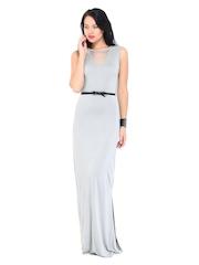 DressBerry Light Grey Maxi Berry Dress