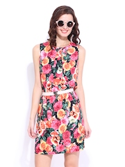 DressBerry Multicoloured Floral Printed Flare Berry Dress