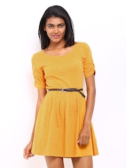 DressBerry Mustard Yellow Fit & Flare Dress