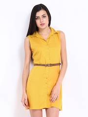 DressBerry Mustard Yellow Shirt Dress