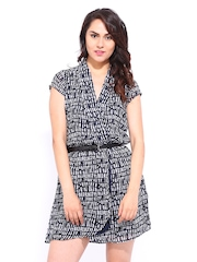 DressBerry Navy & Off-White Printed Wrap Berry Dress