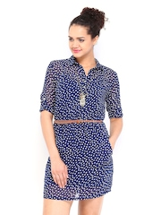 DressBerry Navy & White Polka Dot Print Collar Berry Dress