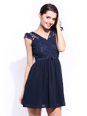 DressBerry Navy Lace Flare Berry Dress