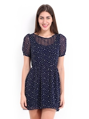 DressBerry Navy Printed Fit & Flare Dress