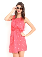 DressBerry Pink Polka Dot Print Flare Berry Dress