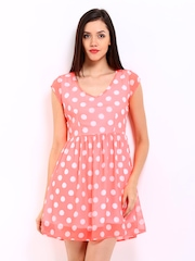DressBerry Neon Pink Polka Dot Print Fit & Flare Dress