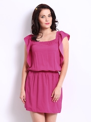 DressBerry Pink Polka Dot Print Billow Berry Dress