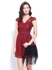 DressBerry Red Lace Flare Berry Dress