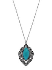 DressBerry Silver-Toned & Blue Pendant with Chain