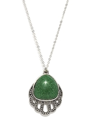 DressBerry Silver-Toned & Green Pendant with Chain