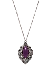 DressBerry Silver-Toned & Purple Pendant with Chain