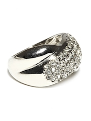 DressBerry Silver toned Crystal Studded Ring