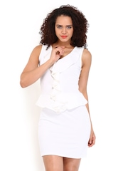 DressBerry White Flutter Berry Dress