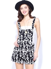 DressBerry Women Black & White Floral Printed Romper Berry Playsuit