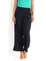 DressBerry Women Black Cambric Palazzo Trousers