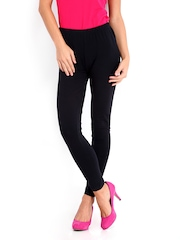DressBerry Women Black Cotton Stretch Leggings