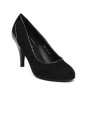 DressBerry Women Black Heeled Shoes