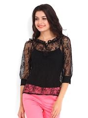 DressBerry Women Black Lace Top