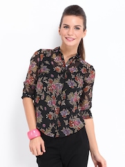 DressBerry Women Black Sheer Floral Print Shirt