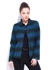DressBerry Women Blue & Green Striped Wool Blend Coat