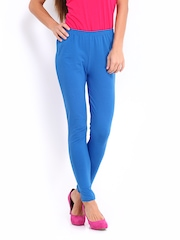 DressBerry Women Blue Cotton Stretch Leggings