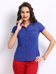 DressBerry Women Blue Stud Top