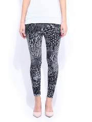 DressBerry Women Charcoal Grey and Black Angora Printed Nylon Stretch Leggings