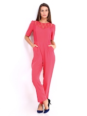 DressBerry Women Coral Pink 70s Berry Jumpsuit