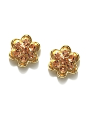 DressBerry Gold Toned stone Stud Earrings