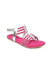 DressBerry Women Pink & Silver-Toned Flats
