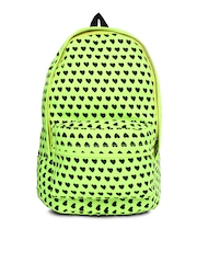DressBerry Women Fluorescent Green & Black Printed Backpack