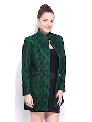 DressBerry Women Green & Black Lace Wool Blend Coat