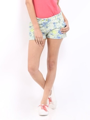 DressBerry Women Green & Blue Floral Print Shorts