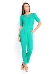 DressBerry Women Green 70s Berry Jumpsuit