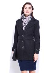 DressBerry Women Grey Wool Blend Coat