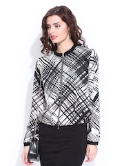 DressBerry Women Black & White Printed Jacket