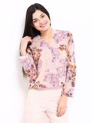DressBerry Women Mauve Floral Print Top