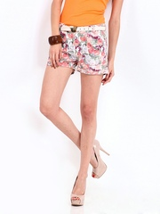 DressBerry Women Multi-Coloured Floral Print Shorts