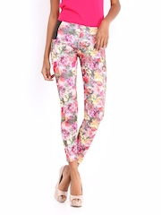 DressBerry Women Multicoloured Floral Print Jeggings