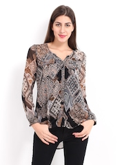 DressBerry Women Multicoloured Printed Sheer Casual Shirt